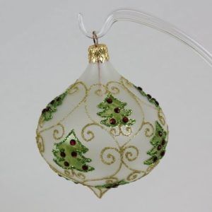 Frosted Olive Shaped Ornament with Christmas Trees