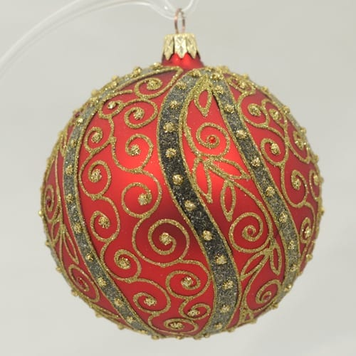 Red Ornament with Ornate Gold Vines
