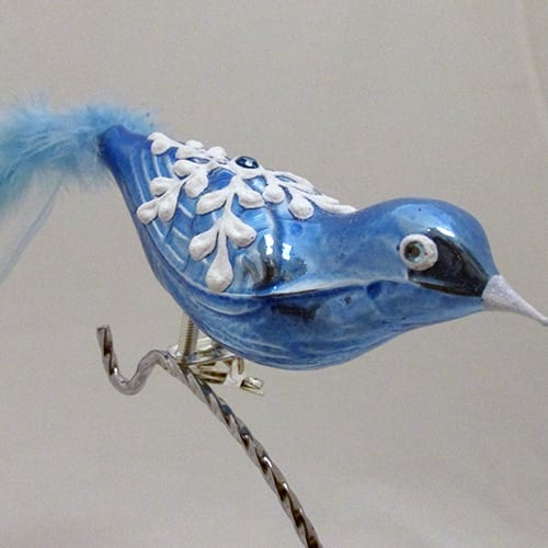 Blue Bird with Snowflake & Blue Feather