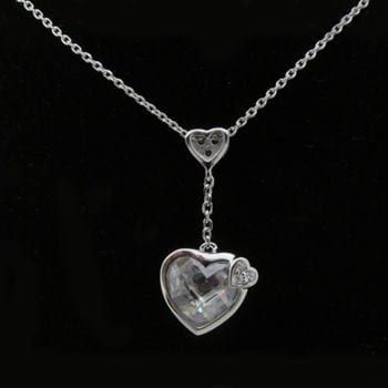 Crystal Drop Heart Necklace