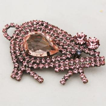 Pink Crystal Rhinestone Pig Brooch