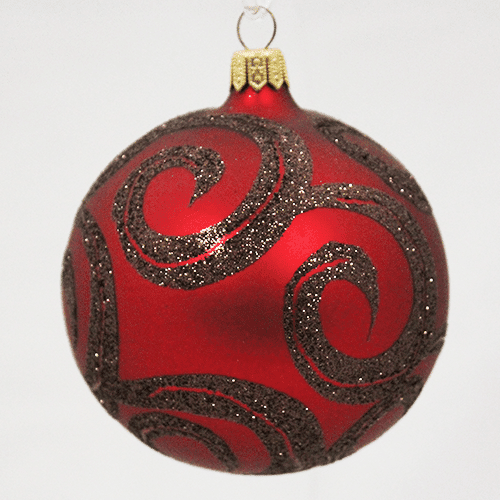 Red Ball Ornament with Swirls