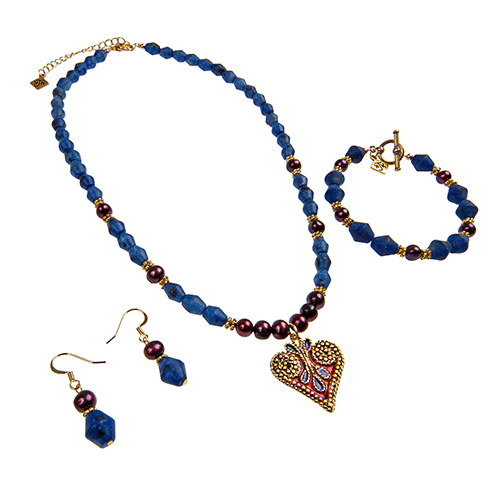 Heart Charm Collection with Blue Jasper & Pearl by KJK Jewelry