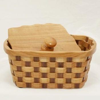"""Cherry Walnut Napkin Basket, 8"""""""