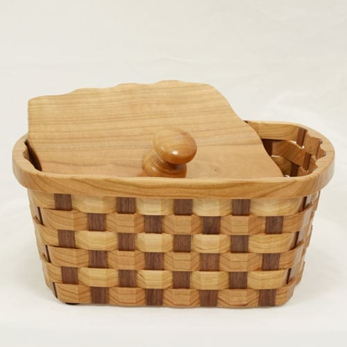 Cherry Walnut Napkin Basket, 8""