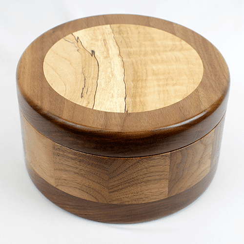 "Handmade Lidded Inlay Box, 6.5"" dia."