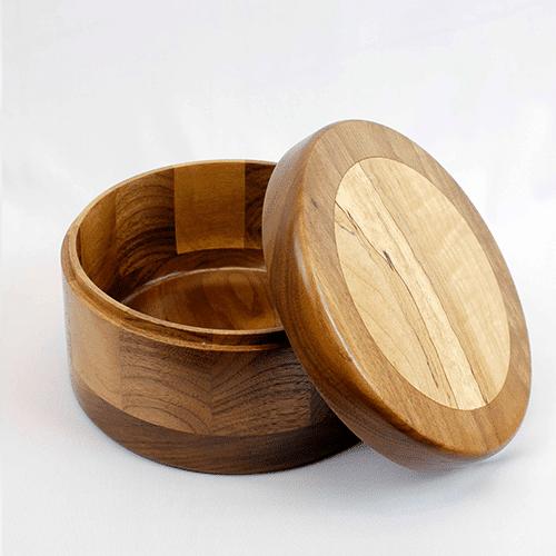 "Handmade Lidded Inlay Box, 6.5"" dia."