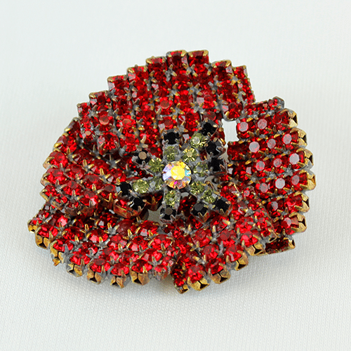 Rhinestone Poppy Brooch by Lilien Czech