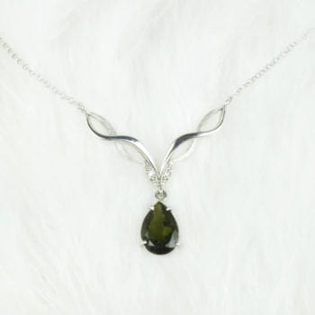 Moldavite & Silver Necklace