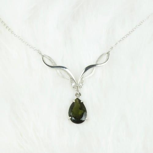 Moldavite & Silver Necklace