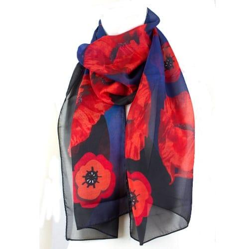 Remembrance Poppy Silk Scarf