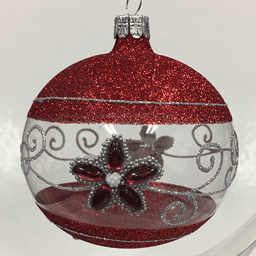 Jewel Flower Ornament with Red Glitter