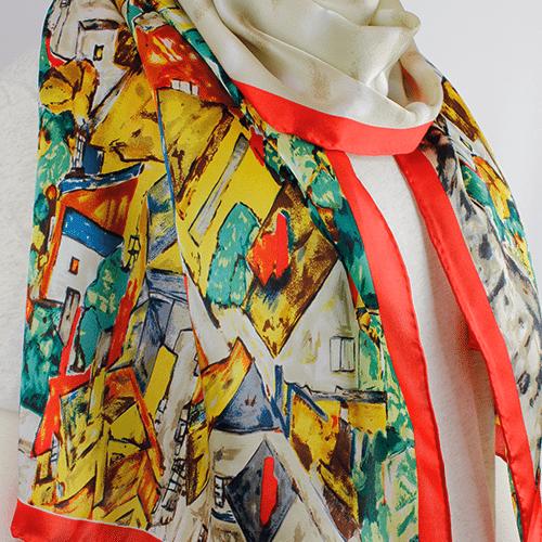Egon Schiele 'Landscape at Krumau' Silk Scarf