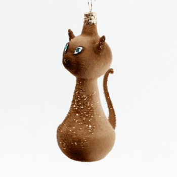 Fuzzy Brown Cat Ornament