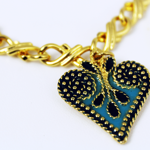 Heart Charm Collection in Blue by KJK Jewelry