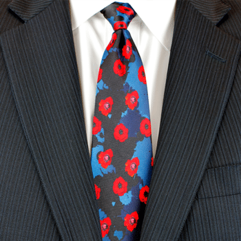 Remembrance Poppy Silk Tie