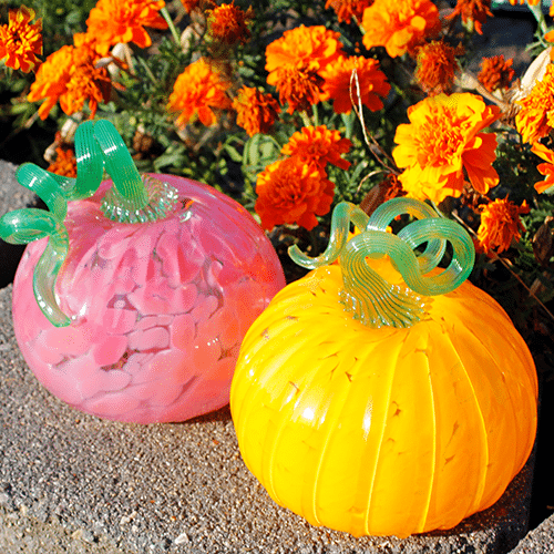 """Hand-crafted Glass Pumpkins by James Hayes, 5"""""""